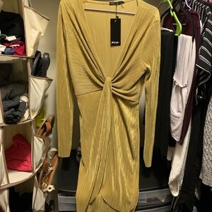 Nastygal faux wrap dress. Size 6. Chartreuse.